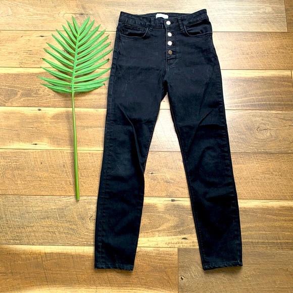Zara High Rise Button Fly Black Skinny Jeans sz 6
